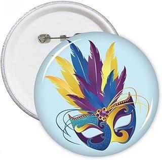 DIYthinker Masque bleu plume Joyeux Carnaval de Venise Badge Pins Ronde Bouton Vêtements Décoration 5pcs cadeau Multicolor...