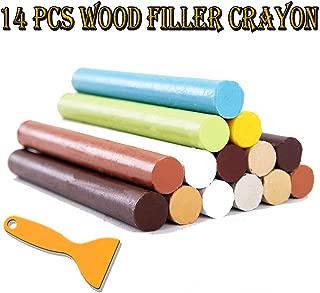 Furniture Repair Kit Wood Filler - 14 Colors+1 Scraper - Wax Stick Crayons for Scratches, Nail Hole, Wood Floors, Tables, Desks, Carpenters, Bedposts