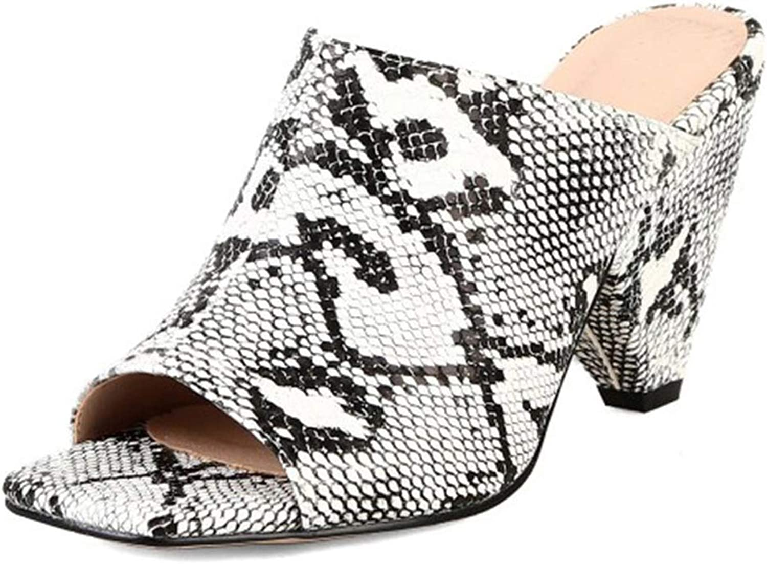 Snake Mules Slippers Spike Heels High Mules shoes Woman shoes Fashion Slides Female,White,9.5