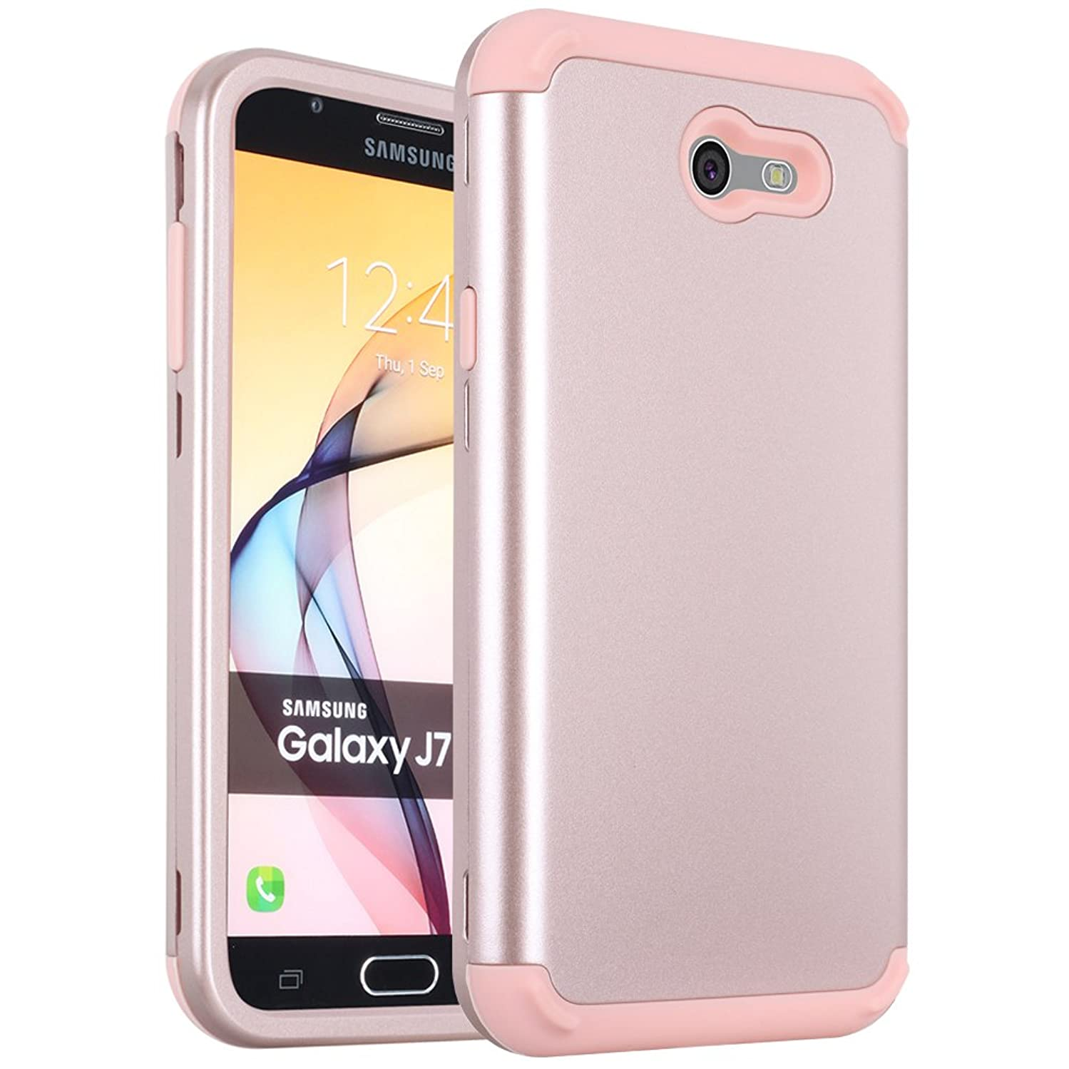 Galaxy J7 2017 Case, Galaxy J7 Prime Case,Galaxy J7 Perx Case,Alkax Heavy Duty Hybrid Dual Layer Armor Protective Cover Hard PC Slim Silicone Shockproof for Samsung Galaxy J7 Sky Pro / J7 V -Rose Gold