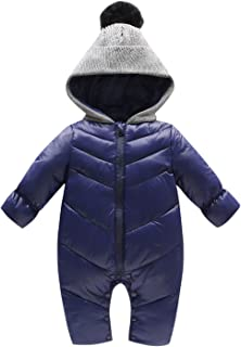 909302f5c389 Evelin LEE Baby Girls Boys Puffer Down Jackets One Piece Cable Hood Snowsuit  Jumpsuit