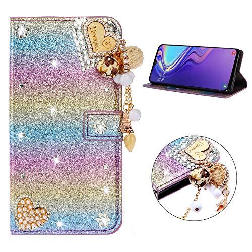 Miagon Hülle Glitzer für Samsung Galaxy J6 PLUS,Luxus Diamant Strass Herz PU Leder Handyhülle Ständer Funktion Schutzhülle Brieftasche Cover,Regenbogen Blau