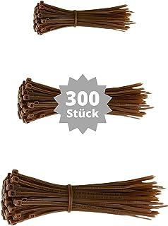 djb - Juego de bridas para cables (300 unidades, calidad industrial, surtido de 100/140/200 mm), color marrón