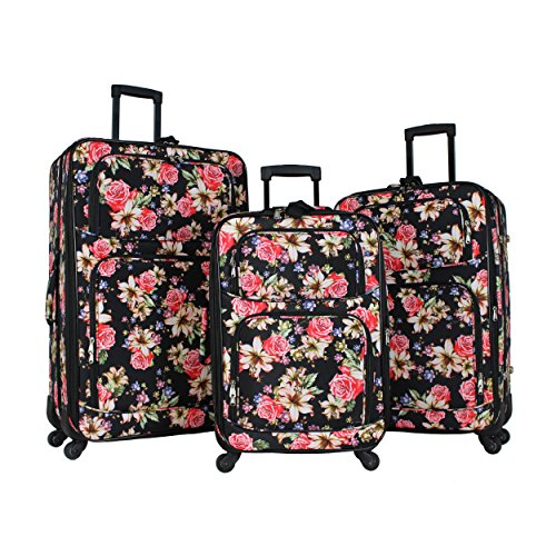 World Traveler 3-piece Rolling Expandable Spinner-Rose Lily, One Size
