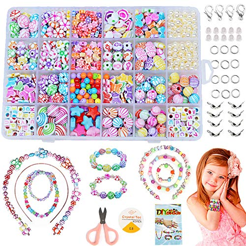 Perlen zum Auffädeln, DIY Perlen Set Armbänder Selber Machen Kinder Schmuck Schnurset, Buchstaben Perlenschmuck Schmuckbasteln, Geburtstagsgeschenk für Mädchen