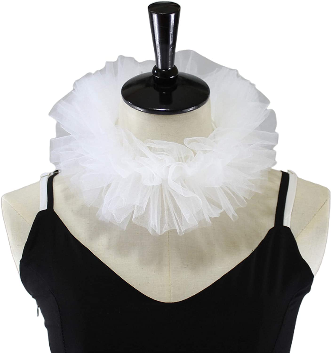 YOUSIKE Ruffled Necklace, Women Renaissance Tulle Fluffy Ruffled Fake Collar Vintage Layered Mesh Small Neck Ruff Lace-Up Decorative Clown Choker Wrap Cosplay Costume Props
