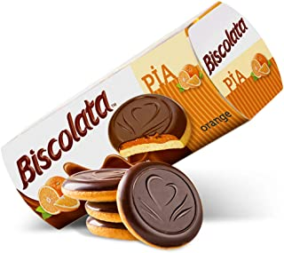 Biscolata Pia Cookies with Fruit Filling – 4 Pack Snacks Soft Baked Cookies (Orange)