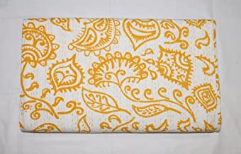 indian sparrow 100% Cotton Quilt Floral Indian yellow Home Décor Kantha Reverssible Traditional Bedspread By Rajrang