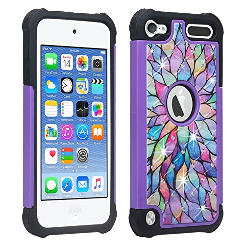 Wydan Studded Diamond Case Compatible for iPod Touch 7th 6th 5th Generation - Rhinestone Bling Hybrid Shock Absorbant Cover - Rainbow Flower for iPod Touch 5/6/7 Gen for Apple