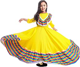 Girls Dress World National Mexican Style Costume for Carnival Festival Birthday Party Dress(XS, Mexican Style)