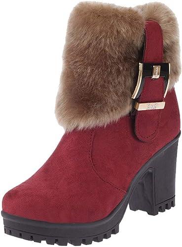 Qiusa Stiefel de Felpa Martin de Moda para damen Tubo Corto Hebilla Gruesa Bota Caliente (Farbe   Wine, tamaño   2.5 UK)
