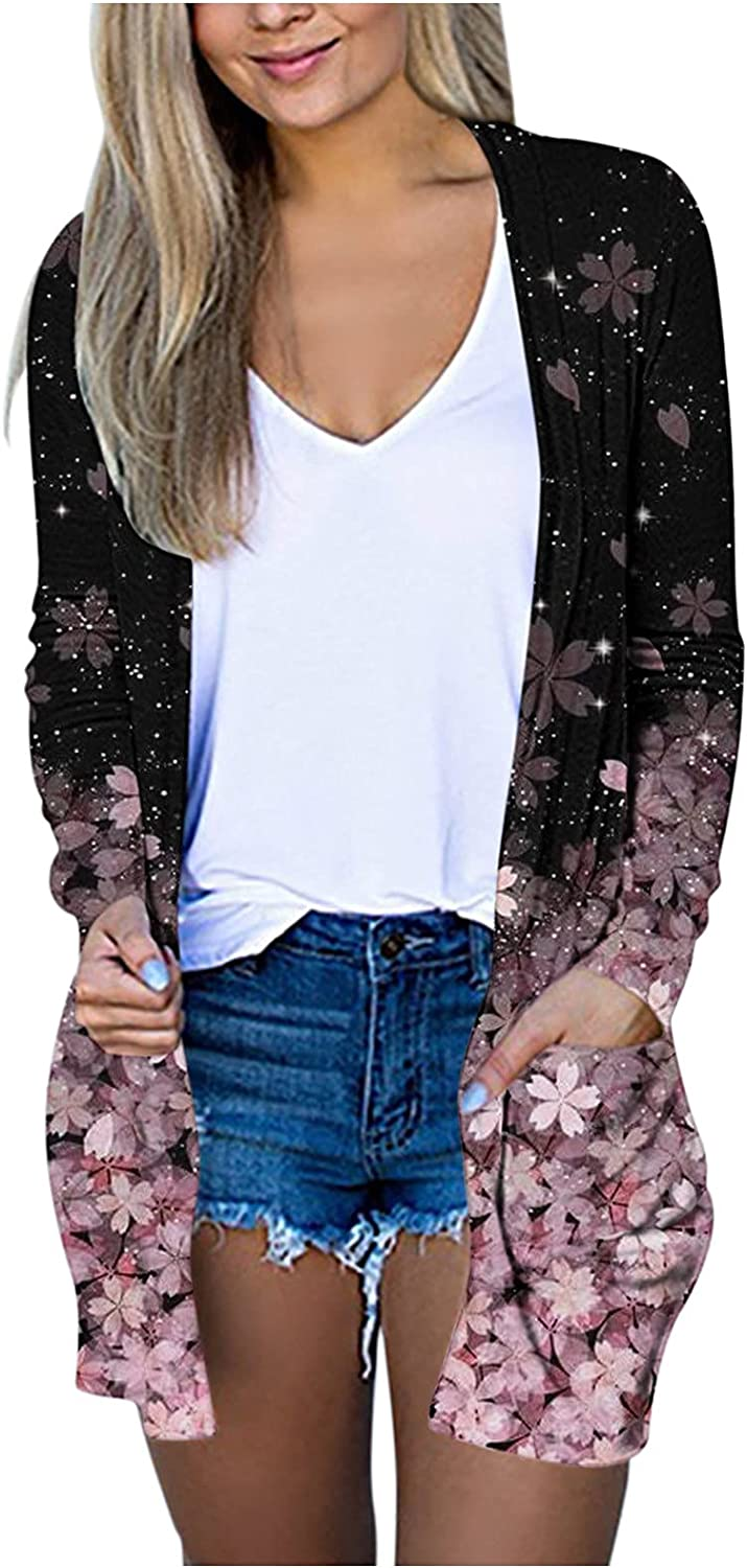 ManxiVoo Women's Long Sleeve Open Front Floral Print Cardigan Coats Plus Size Fall Tops Jackets with Pockets