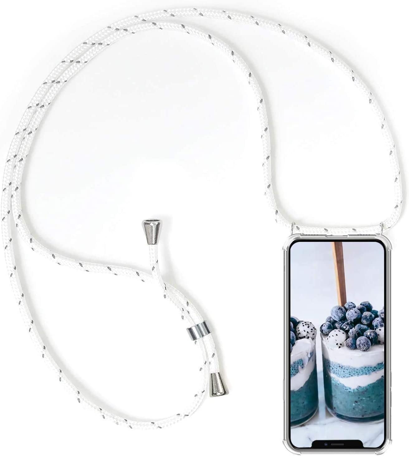 Silicone Case Cover for Honor 9X Lite Crossbody case Necklace Mobile Phone Cover Lanyard Case Holder/Cord Strap/Pouch Transparent TPU Cell Phone Cover for Women Girls (White)