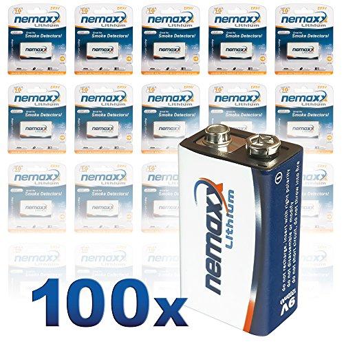 Nemaxx Lithium 9V blokbatterij voor rookmelder levensduur 10 jaar 100 Stuk wit/blauw