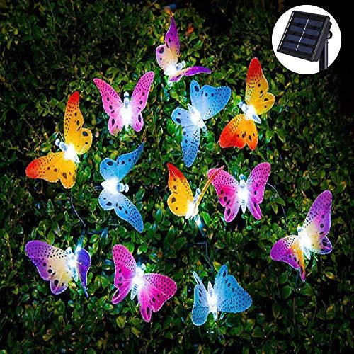 Enhome Solar LED Lichterkette Aussen, 12 LED Schmetterling Lampion 2 Modes Draussen Dekoration Lichterketten für Party Garten Balkon und Innen Terrasse Hof Haus Weihnachten Deko (13ft,Mehrfarbig)