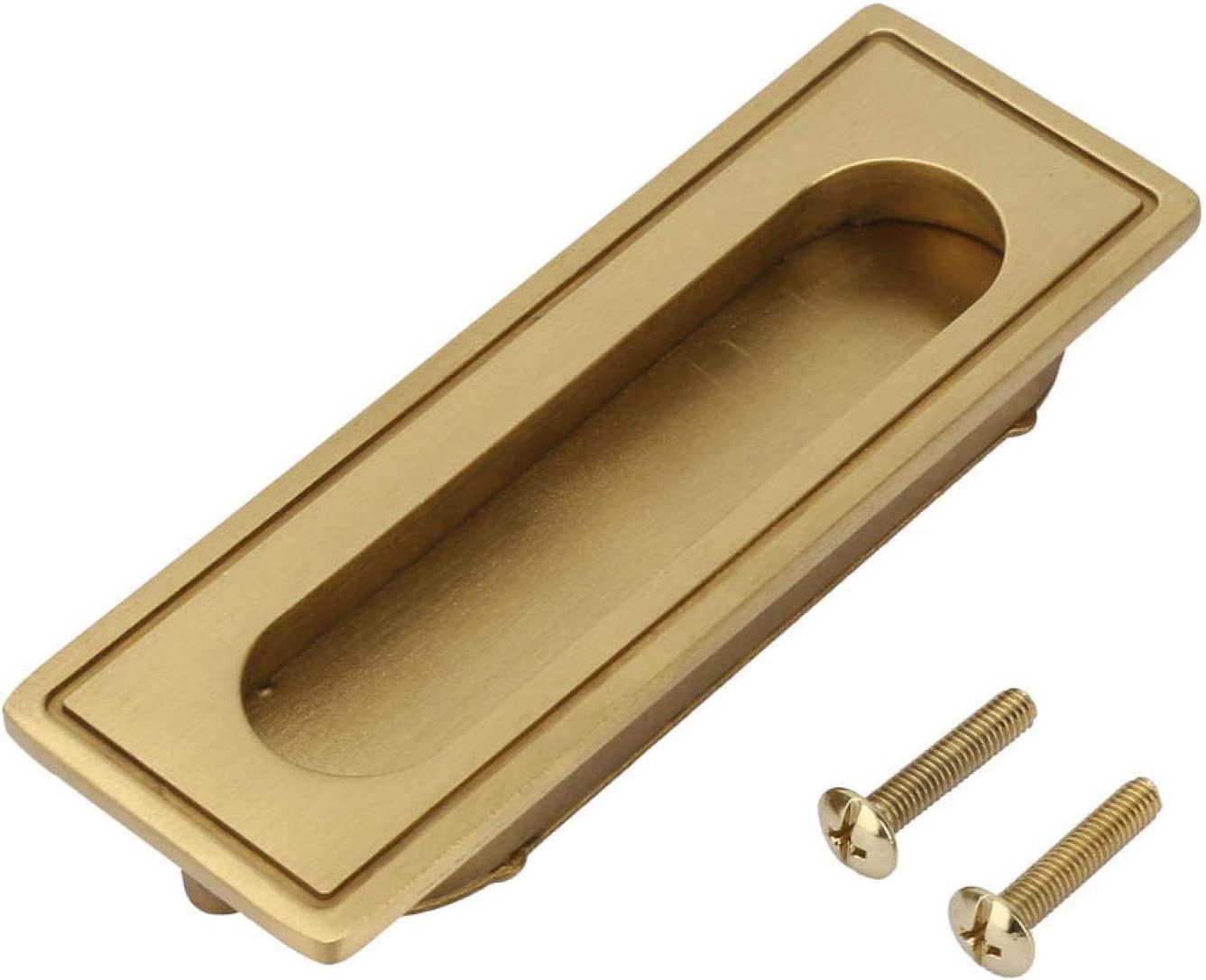 Agatige Invisible Door Handle, Brass Flush Pull Handle Gold Recessed Furniture Handle for Kitchen Cupboard Cabinet Wardrobe Drawer