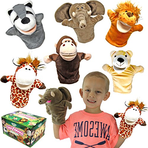 Animal Friends Deluxe Kids Hand Puppets with Working Mouth (Pack of 6) for Imaginative Play