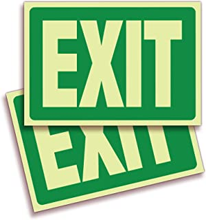 Exit Photoluminescent Signs Stickers - 2 Pack 10x7 Inch - Premium Self-Adhesive Glow in The Dark Vinyl, Laminated for Ulti...