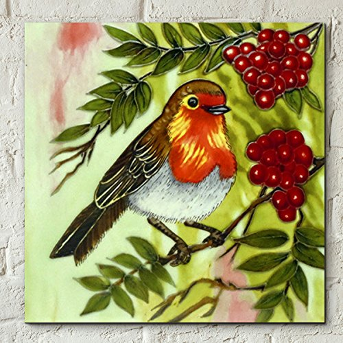 Rode Berry Robin van Judith Yates 8x8 Decoratieve Keramische tegel Foto Art Plaque Vogel Gift Decor