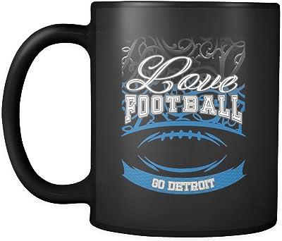 Love Football Game GoデトロイトファンアパレルGearグラデーションカラーギフトブラック11オンスコーヒーマグ Love Football Go Detroit Black 11oz Coffee Mug