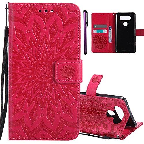 ISADENSER LG V20 Case Embossing Sunflower Series Case with Shockproof Kickstand and Credit Card Holder Flip Magnetic Closure Protection Wallet Leather PU Case Cover for LG V20 2016 Red Sunflower