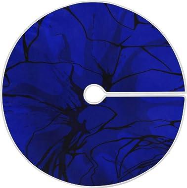LORONA Tapis de sapin de Noël abstrait Bleu 119,9 cm pour décorations de Noël d'intérieur et d'extérieur, fête de vac