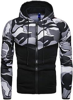 Howely Men Camouflage Color Printed Jacket Coat Zip Hooded Punk Rock Coats