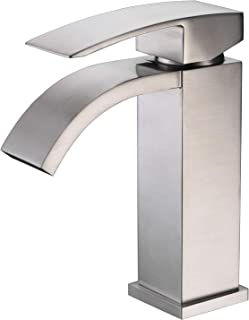 Sumerain Vanity Faucets Brushed Nickel Finish, Waterfall Sink Faucet