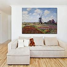 WJY Monet Campos de Tulipanes con el Molino de Viento Pintura de la Lona Impresión Sala de Estar Decoración para el hogar Arte Moderno de la Pared Pintura al óleo Poster Pictures 40cm x60cm No Frame