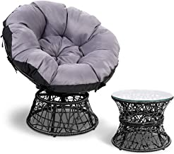 Gardeon Swivel Papasan Chair Indoor Outdoor Furniture Lounge with Padded Seat-Black