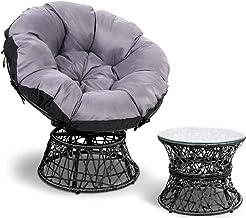 Gardeon Swivel Papasan Chair Indoor Outdoor Furniture Lounge with Padded Seat-Black