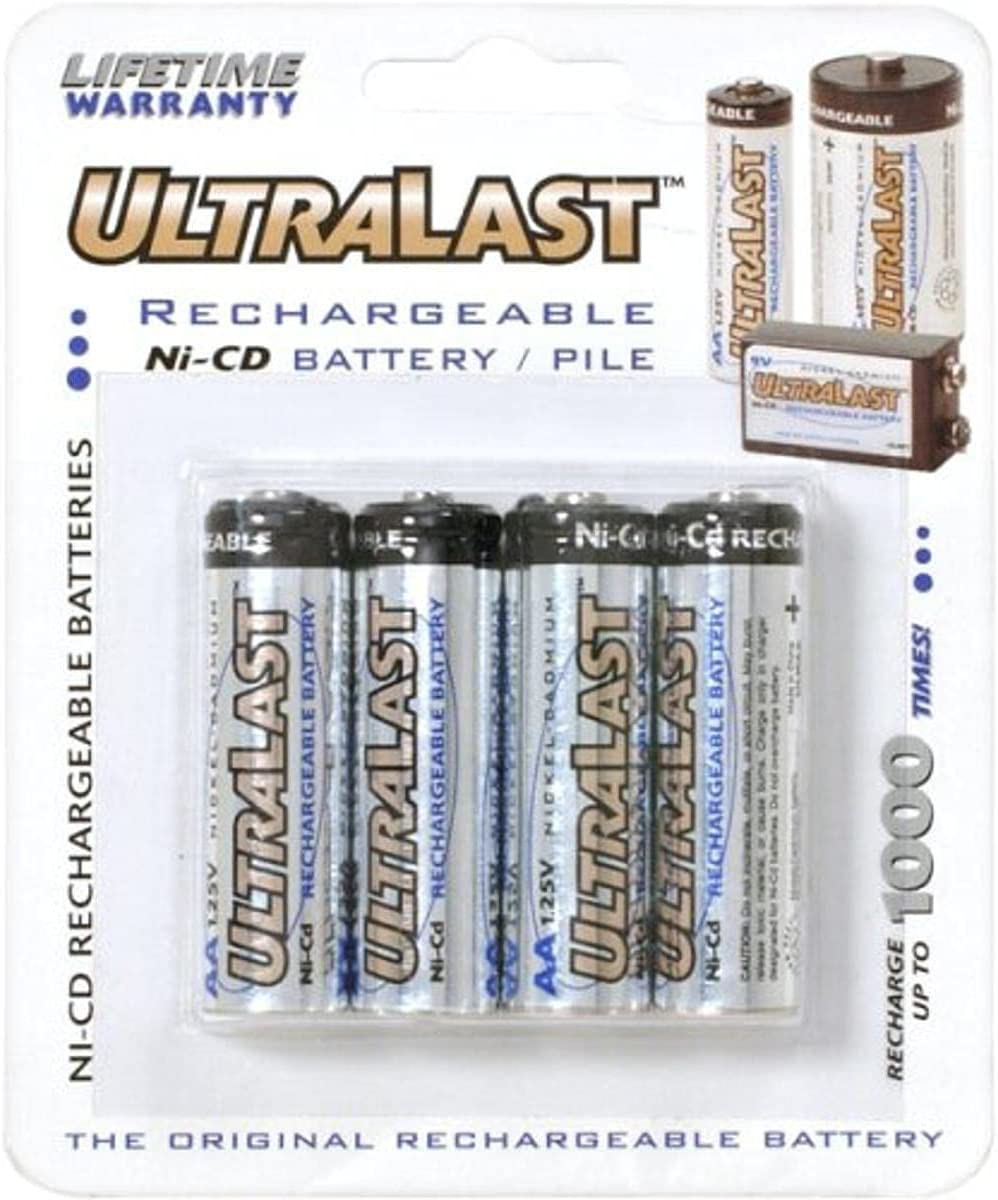 Max 77% OFF Ultralast AA Rechargeable NiCd Over item handling Battery - Pack Retail 4