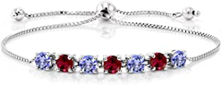2.72 Ct Round Blue Tanzanite Red Created Ruby 925 Sterling Silver Bracelet