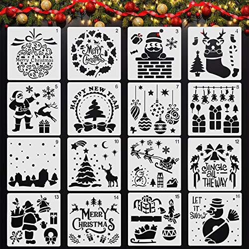CODIRATO 16 Stück Weihnachten Schablonen Malvorlagen Kunststoff ZeichenschablonenMalschablonen Weihnachtsschablonen Wiederverwendbar Weihnachtsbaum Schneemann Schablone für Scrapbooking Fotoalbum
