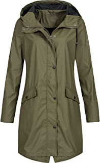 Women Raincoat Lady Windbreaker Solid Color Trench Coat Hooded Outerwear Spring Overcoat