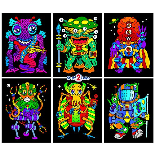 Stuff2Color Aliens 6-Pack of Fuzzy Velvet Coloring Posters