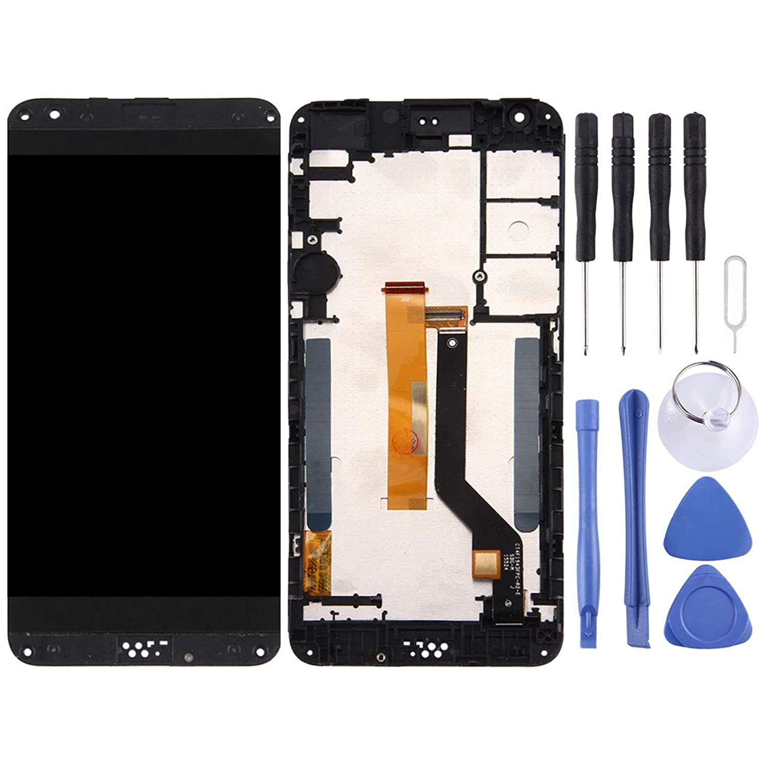 Huamentallice LCD Screen Repaire&Spare Parts LCD Screen and Digitizer Full Assembly with Frame & Top + Lower Bottom Glass Lens Cover for HTC Desire 530 (Grey) (Color : Grey)