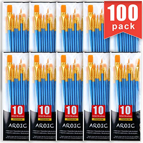AROIC Painting Brush Set, 10 Packs /100 Pieces, Nylon Brush Head, Suitable for Oil and Watercolor, Perfect Suit of Art Painting, Best Gift for Painting Enthusiasts.