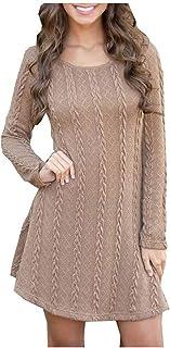 Wadonerful Womens Sweater Dress O Neck Long Sleeve Cable Knitted A-Line Dress Elegant Knit Dress Oversized Mini Dresses