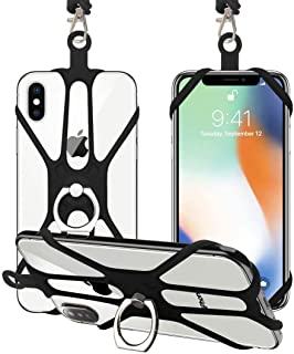 Universal Phone Lanyard Holder, 2 Pack Silicone Retractable Cell Phone Lanyard with Detachable Neckstrap and Phone Ring Ho...