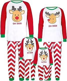 Matching Family Pajamas Christmas Costumes Xmas Moose Print 2 Piece Pjs for Mom Dad Kids Pyjamas,Oh Deer