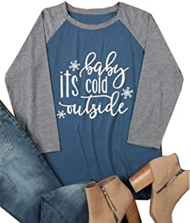 ALLTB Plus Size Baby It's Cold Outside Christmas T Shirt Womens 3/4 Sleeve Snowflake Print Baseball Tee Shirt