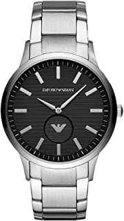 Emporio Armani Men's Dress Quartz Watch with Stainless-Steel Strap, Silver, 22 (Model: AR11118)