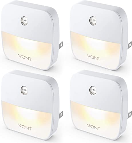 discount Vont 'Aura' LED Night Light (Plug-in) Super Smart Dusk to Dawn Sensor, Auto Night Lights Suitable 2021 for Bedroom, Bathroom, wholesale Toilet, Stairs, Kitchen, Hallway, Kids, Adults, Compact Nightlight (4 Pack) online