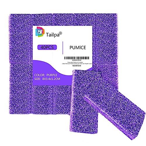 Lot de 40 éponges de ponce pour nettoyer les pieds et enlever les callosités pour nettoyer les pieds et enlever les peaux mortes violettes.
