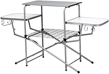 Giantex Aluminum Folding Grill Table, with Hooks and Storage Lower Shelf,Easy to Carry with Carrying Bag, Great for BBQ, Picn