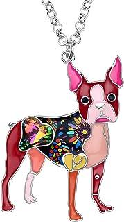 NEWEI Enamel Alloy Crystal Rhinestone Boston Terrier Dog Necklace Pendant Fashion Animal Pets Jewelry for Women Girls Gift