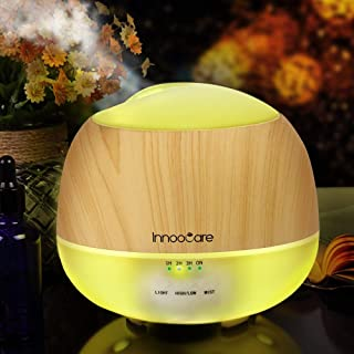 InnooCare 500ML Essential Oil Diffuser, Wood Grain Aromatherapy Diffuser, Ultrasonic Cool Mist Humidifier with 7 Color Cha...