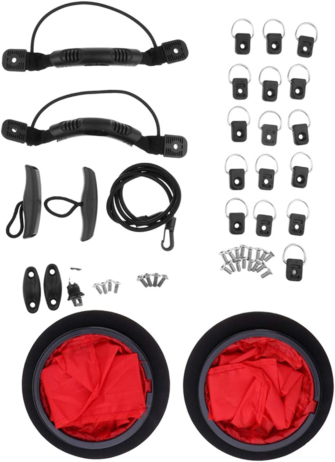 Baosity 2pcs Kayak Deck Plate & 1pcs Canoe Drain Plug & 16pcs D Rings & 1 Pair Toggle Carry Handles Boat Kit Set with Hardware