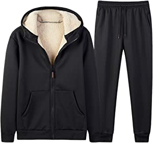 Leewa Men's Cashmere Tracksuit Outerwear Baseball Sports Suit Hood Cropped Pants Thermal Zipper Suit Casual Spring Winter Hooded Sports Suit Athletic